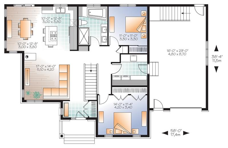 Plan De Plain Pied Et 1 Etage Avec Garage Dessins Drummond 14